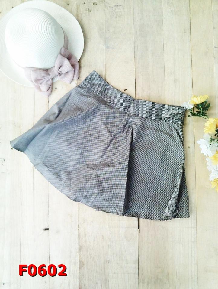 F0602 กางเกงกระโปรงสั้น ผ้าคอตต้อน สีน้ำตาลอ่อน