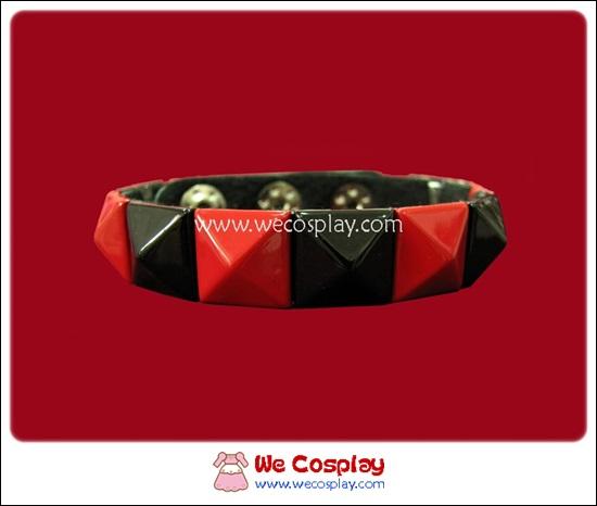 สร้อยข้อมือพังค์ Punk Wristband ตอกหมุด 1 แถว สีดำแดง