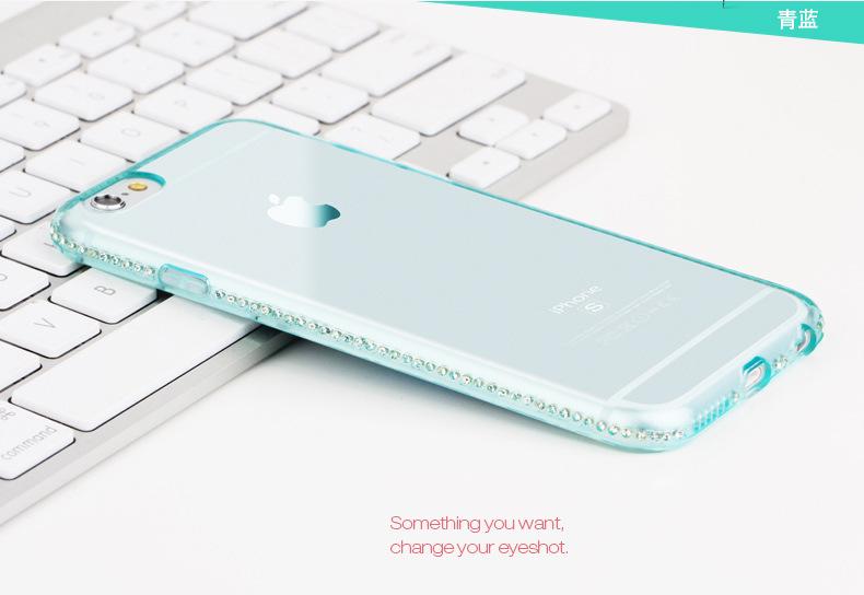 Case iphone 6 Plus / 6s Plus (TPU Case) ประดับเพชรขอบเครื่อง เคสใสสีฟ้าน้ำทะเล