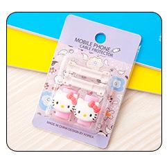 อุปกรณ์ถนอมหูฟัง/สายชาร์จโทรศัพท์มือถือ Hello kitty สีชมพู (1 Pack/1 คู่)