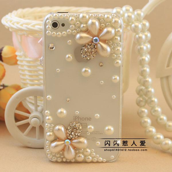 เคสไอโฟน 4/4s (Case Iphone 4/4s) เคสไอโฟนกรอบโปร่งใส ประดับมุกรูปดอกไม้สุดหรู