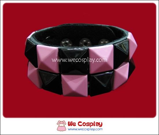 สร้อยข้อมือพังค์ Punk Wristband ตอกหมุด 2 แถว สีดำชมพู ตาหมากรุก