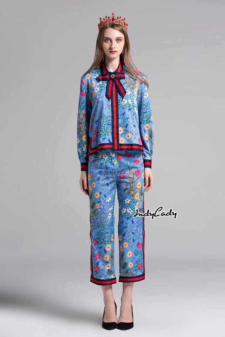 เสื้อผ้าเกาหลี พร้อมส่ง เสื้อกับกางเกงพิมพ์ลายดอกไม้