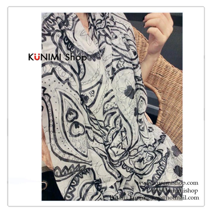 ผ้าพันคอ แฟชั่น พิมพ์ลายสวย สามารถใช้พันคอ คลุมไหล่ สวยดูดี ใช้ได้ทุกโอกาส ขนาด : ยาว 170 กว้าง 80 cm. ผ้า : ฝ้าย
