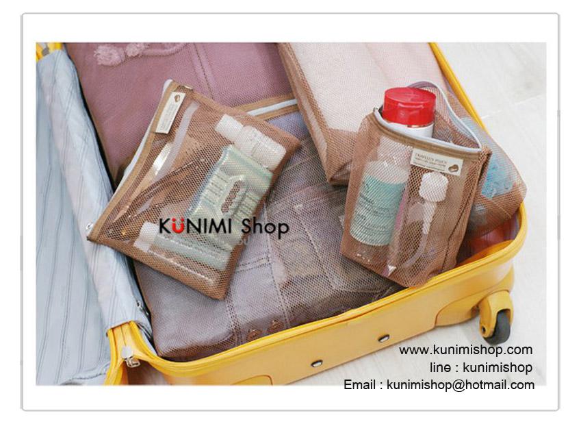 กระเป๋าตาข่ายใช้ใส่สิ่งของต่างๆ กระเป๋าจัดระเบียบ แบ่งประเภทสิ่งของ มีซิบเปิด - ปิด สามารถมองเห็นของด้านในสะดวกในการหยิบใช้งาน พกพาสะดวกเวลาเดินทางท่องเที่ยว ทำให้กระเป๋าเป็นระเบียบมากยิ่งขึ้นครับ 1ชุด มี 4 ชิ้น ขนาด : 18 x 33 ซม. ขนาด : 22 x 17 ซม. ขนาด : 24 x 40 ซม. ขนาด : 40 x 50 ซม.