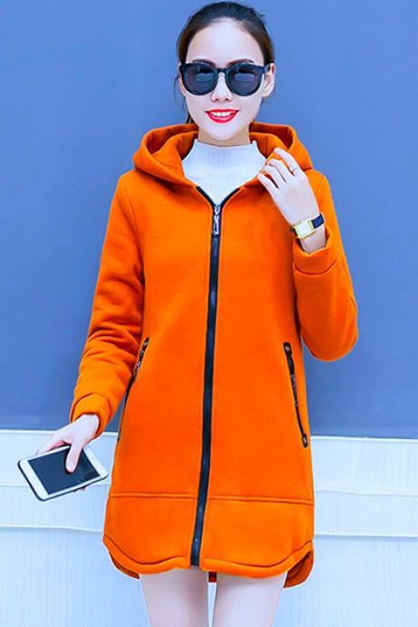 (พร้อมส่ง) เสื้อกันหนาว เสื้อกันหนาวแฟชั่น สีส้ม ผ้าฟลีซ ใส่สบาย แบบเรียบเก๋ ซิบรูดใช้งานได้สะดวก มีฮูท อินเทรนสุดๆ สำหรับหนาวนี้ มีซับใน ด้านในบุด้วยผ้าขนสัตว์