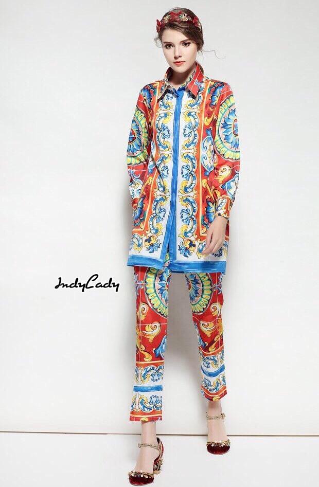 ชุดเซทแฟชั่น Set เสื้อ+กางเกง ตัวเสื้อแขนยาว ทรงเชิ้ตตัวยาวสวย