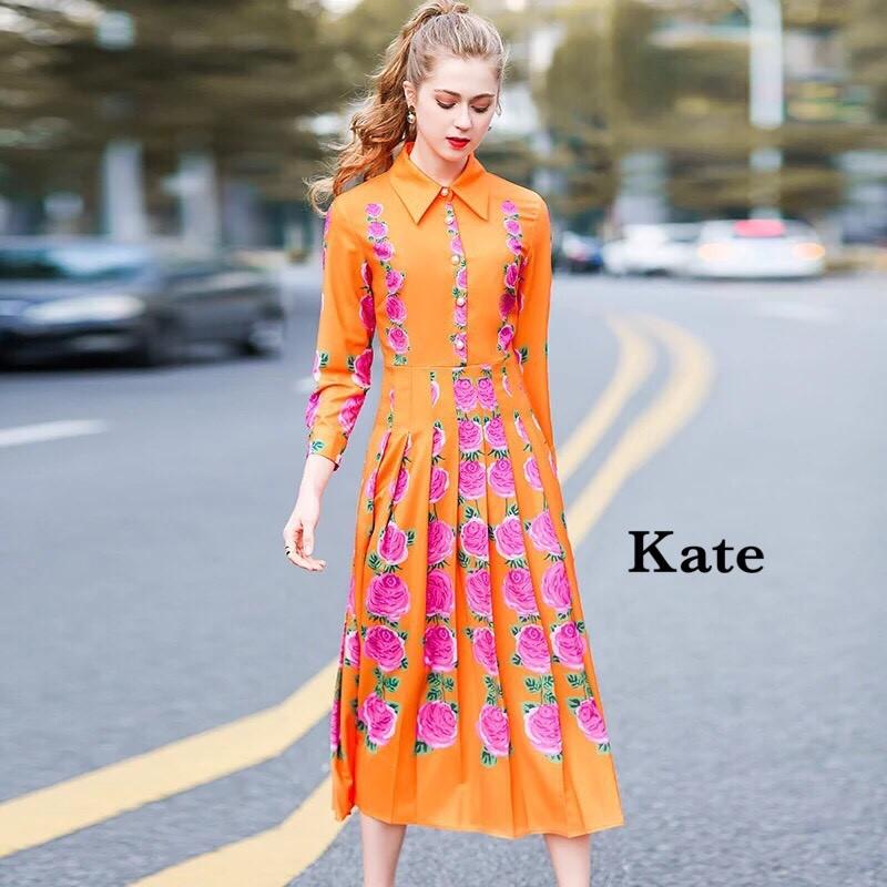 เดรสแฟชั่น Dress สีส้มเปรี้ยวจี๊ด ลายกุหลาบสีชมพู