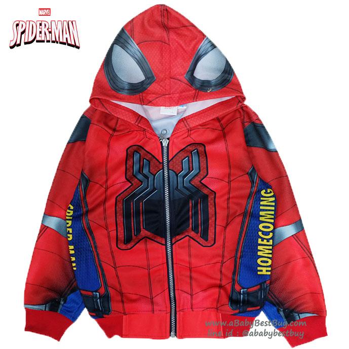 ( Size S-M-L-XL ) เสื้อแจ็คเก็ต Spiderman เสื้อกันหนาว เด็กผู้ชาย สีแดง รูดซิป มีหมวก(ฮู้ด) ใส่คลุมกันหนาว กันแดด สุดเท่ห์ ใส่สบาย ลิขสิทธิ์แท้ (ไซส์ S-M-L-XL )