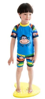 ชุดว่ายน้ำเด็กชายลายลิง **พร้อมหมวก สีฟ้า