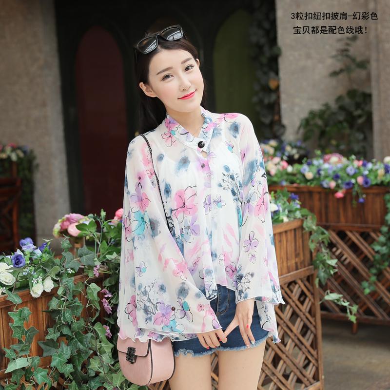 เสื้อคลุมไหล่ +ผ้าพันคอ ผ้าชีฟอง มีกระดุมคอ ลายดอกไม้บอสซัมสีชมพู ขาว