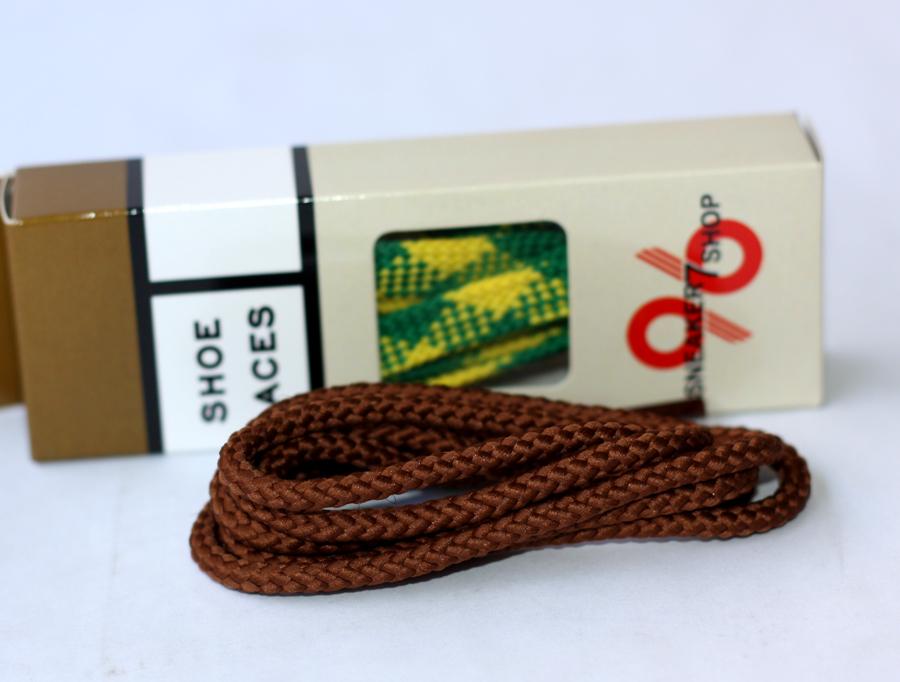 สายเชือกรองเท้า ถักกลม น้ำตาลล้วน เหมาะสำหรับ Redwing Timberland Dr.martens อื่นๆ ยาว 150 CM (2 เส้น)