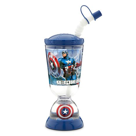 z Disney Captain America Snowglobe Tumbler with Straw