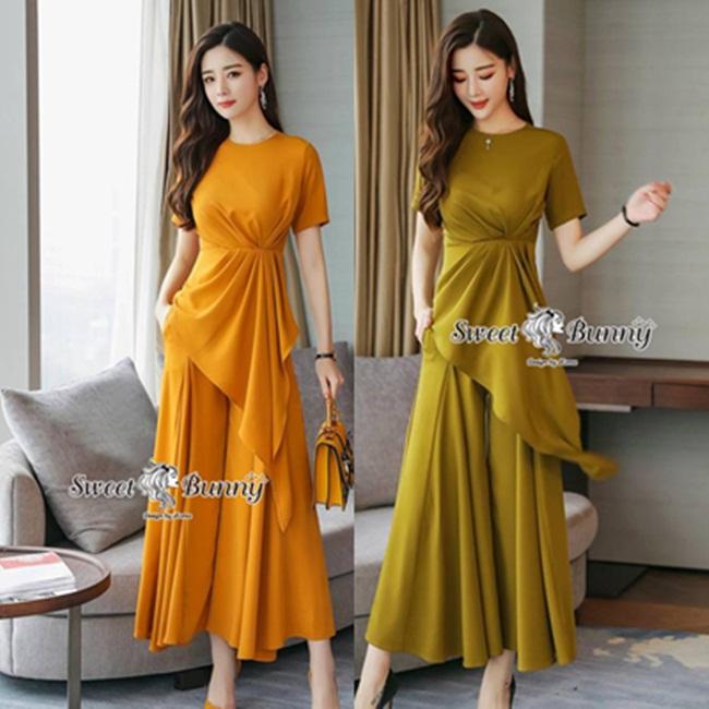 ชุดเซทแฟชั่น ชุดเซ็ทเสื้อ+กางเกงงานเกาหลี ผ้าเรียบสีพื้นเนื้อดี