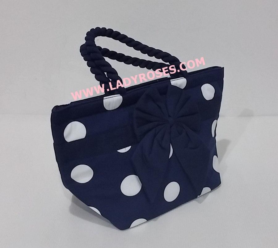 กระเป๋าถือ นารายา Summer Size S ผ้าคอตตอน ลายจุด พื้นสีน้ำเงิน จุดขาว ผูกโบว์ สายหิ้ว หูเกลียว (กระเป๋านารายา กระเป๋าผ้า NaRaYa กระเป๋าแฟชั่น)