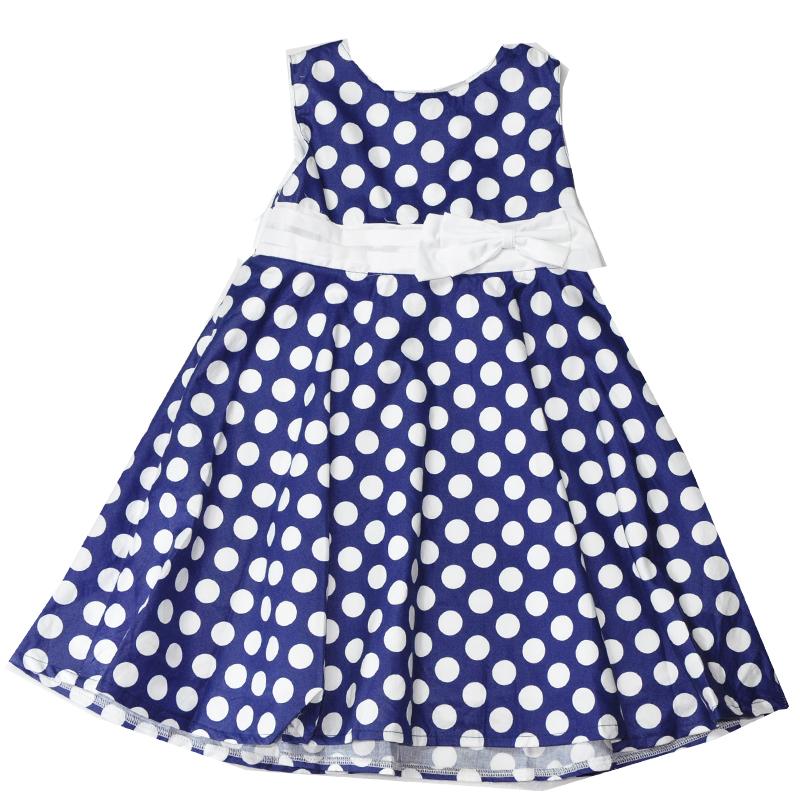 ชุดเดรสเด็กหญิงสีน้ำเงินลายจุด ขนาด 4-6 ปี