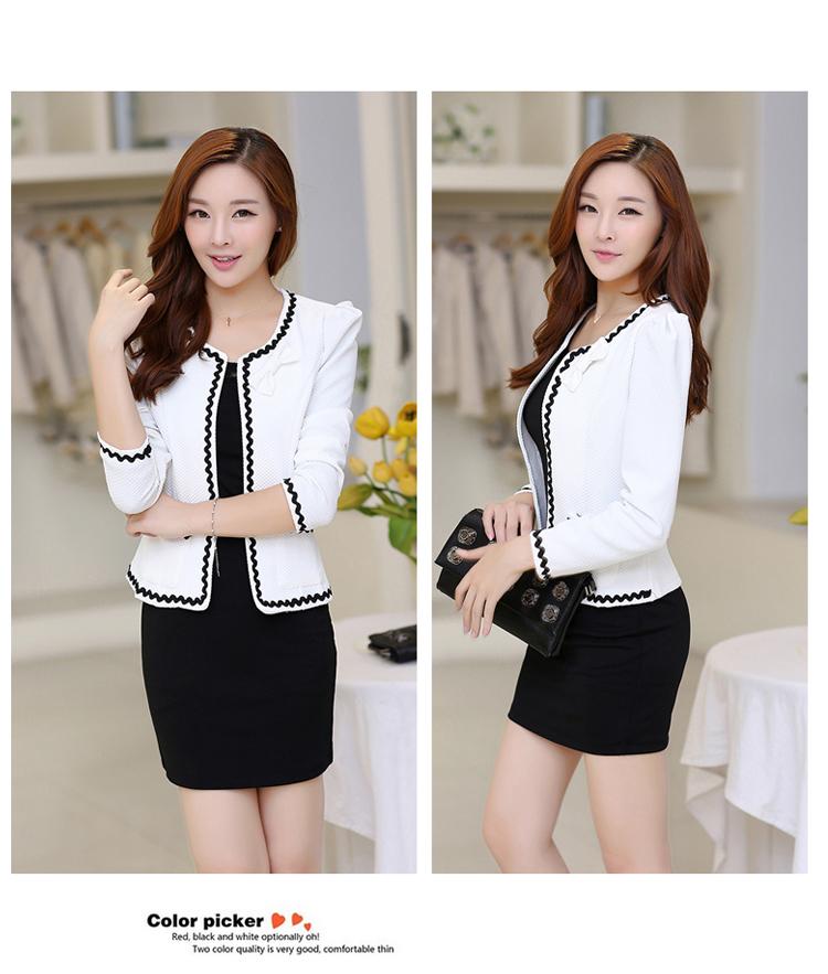 เสื้อคลุมพิธีการ สีขาว ใส่ทำงานได้สวยหวานสไตล์เกาหลี-5size (S,M,L,XL,2XL)