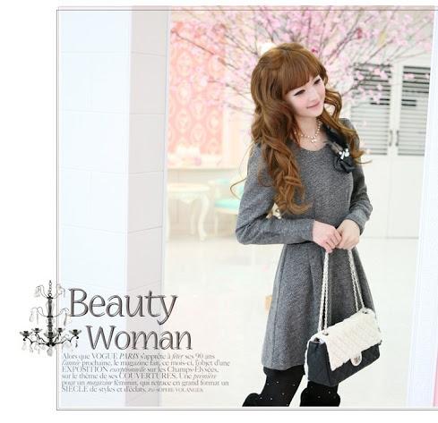 ++สินค้าพร้อมส่งค่ะ++ ชุดเดรสแฟชั่นเกาหลี สไตล์สาวหวาน ชุดฟองบางขนสัตว์แขนยาว - สีเทา