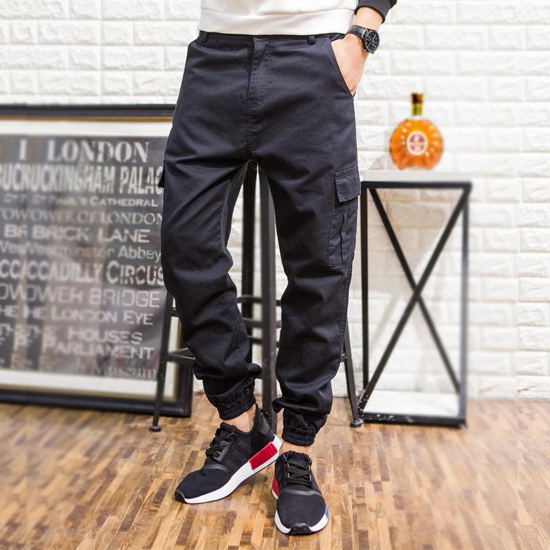 Pre Order กางเกงขายาวผู้ชายสไตล์เกาหลี แต่งกระเป๋าข้าง ขาจั้ม มี4สี