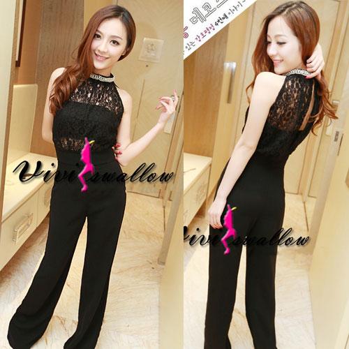 ++สินค้าพร้อมส่งค่ะ++ ชุด Jumpsuit กางเกงขายาวเกาหลี ลูกไม้แต่งรอบคอด้วยลูกปัดมุก กางเกงขายาวด้วยผ้าชีฟอง ดีไซด์สุดเซ็กซี่ - สี ดำ