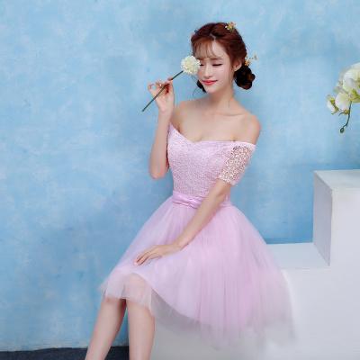 ชุดราตรีสั้นออกงานผ้าถักเปิดไหล่สีชมพู ช่วงเอวคาดโบ