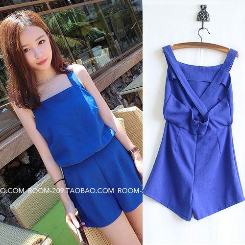 ++สินค้าพร้อมส่งค่ะ++ Jumpsuit กางเกงขาสั้นเกาหลี ผ้า polyester เนื้ผสม ดีไซด์ด้านหลังเป็นสายเอี้ยมน่ารัก – สี Sapphire