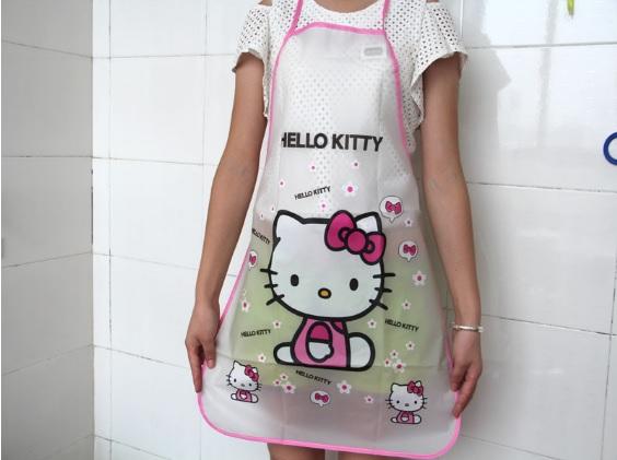 ผ้ากันเปื้อนกันน้ำ ฮัลโหลคิตตี้ Hello kitty ขนาด 70cm * 49.8cm ลายฮัลโหลคิตตี้โบว์ชมพู วัสดุเป็น PE กันน้ำ