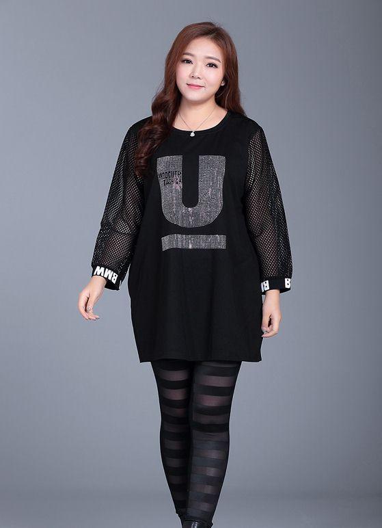 PreOrderเสื้อผ้าคนอ้วน - เสื้อแฟชั่นตัวยาว เป็นเดรสได้ แขนยาว ใช้ผ้าตาข่าย สีดำ
