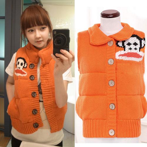 Ouremu ++สินค้าพร้อมส่งค่ะ++เสื้อ jacket เกาหลี แขนกุด กระดุมหน้า ไหมพรมซับในขนเฟอร์เก๋ ลาย Paul Frank – สีส้ม