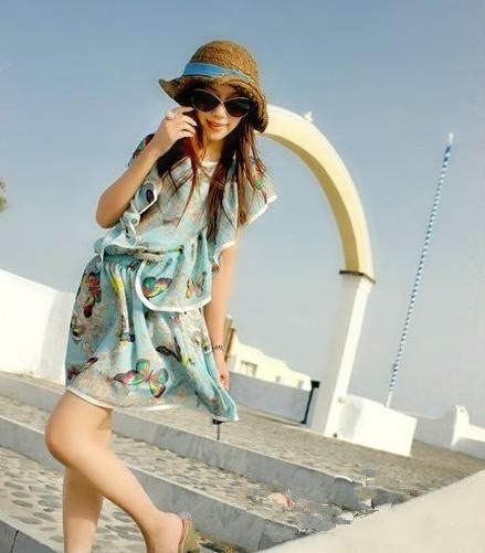++เสื้อผ้าไซส์ใหญ่++ * Pre-Order* ชุดเดรสเกาหลีไซส์ใหญ่แขนระบายผ้าชีฟองสีฟ้าพิมพ์ลายดอกไม้และผีเสื้อสีสดใสติดยางยืดเอว