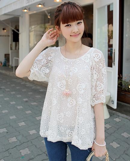 ++เสื้อผ้าไซส์ใหญ่++* Pre-Order* เสื้อผ้าแฟชั่นเกาหลีไซส์ใหญ่แขนสั้นผ้าลูกไม้ฉลุสีขาวตัดต่อซับในปลายแขนติดยางยืด