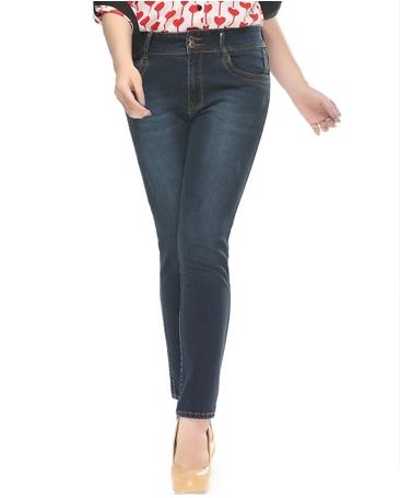 Pre Order - กางเกงยีนส์แฟชั่นไซส์ใหญ่ สียีนส์เข้มขายาว เน้นให้ขาสูงเพรียว