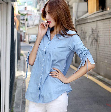 PreOrderไซส์ใหญ่ - เสื้อแฟชั่นเกาหลี ไซส์ใหญ่ คนอ้วน ผ้ายีนส์ไม่หนา จั้มแขนผูกโบว์เล็ก ๆ ใส่ไม่เบื่อ สียีนส์อ่อน