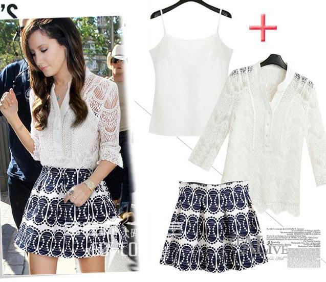 PreOrderไซส์ใหญ่ - เซตคู่ เสื้อกระโปรง 3 ชิ้น ผ้าฝ้าย+ซาติน เสื้อสีขาวผ้าลูกไม้สวยหวาน กระโปรงจีบพิมพ์ลายสีน้ำเงิน