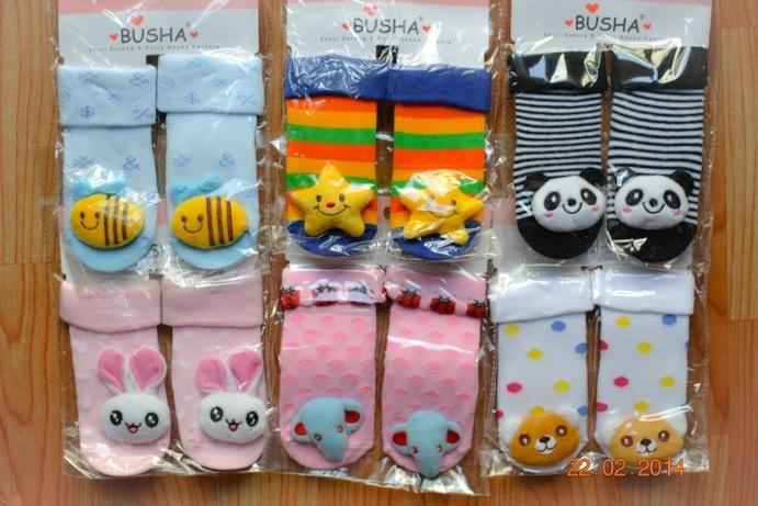 U012**พร้อมส่ง** (ปลีก+ส่ง) ถุงเท้า แฟชั่นเด็ก Busha (1-3 ปี)พับข้อ ติดหัวสัตว์ มีกันลื่น เนื้อดี งานนำเข้า ( Made in China)