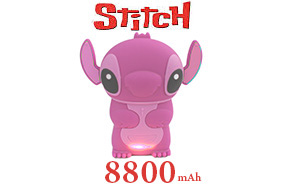Power Bank แบตสำรอง Stitch 8800 mAh ผิวยางด้าน สีชมพู