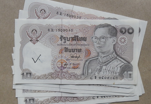ธนบัตร 10 บาท สภาพใหม่ มีจารรอยหมึก