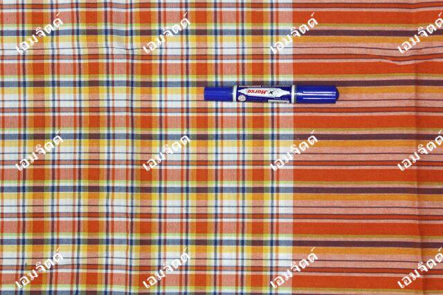 ผ้าขาวม้า TK102 ส้ม (กว้าง 90ซม)