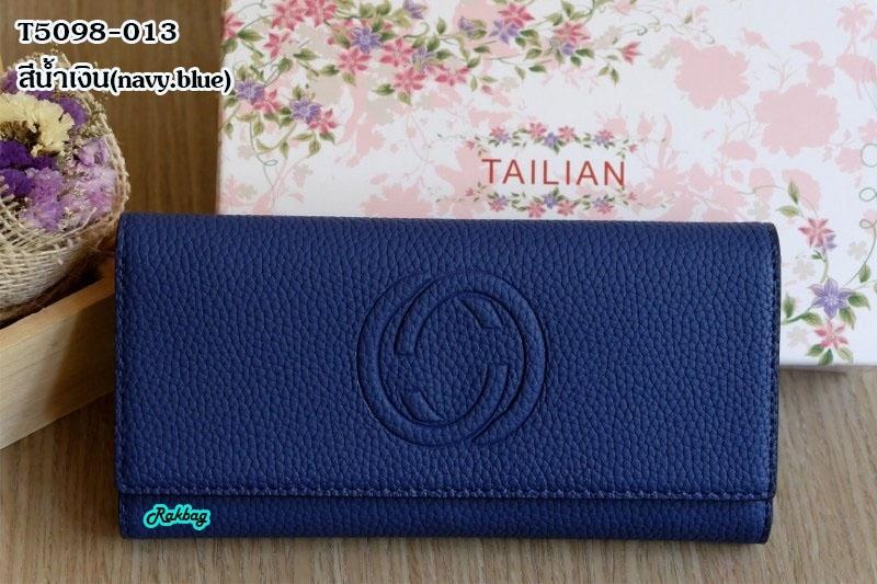 พร้อมส่ง T5098-013 สีน้ำเงิน กระเป๋าสตางค์ยาวหนัง PU เย็บนูนโลโก้ GG พร้อมกล่องสวยหรู