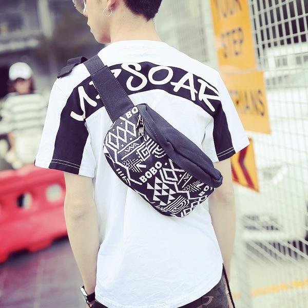 Pre-order กระเป๋าผ้า สะพายคาดไหล่ คาดอก ใส่ ipad 8 นิ้ว ผู้ชายแฟขั่นเกาหลี รหัส Man-2072 สีดำ-ขาว