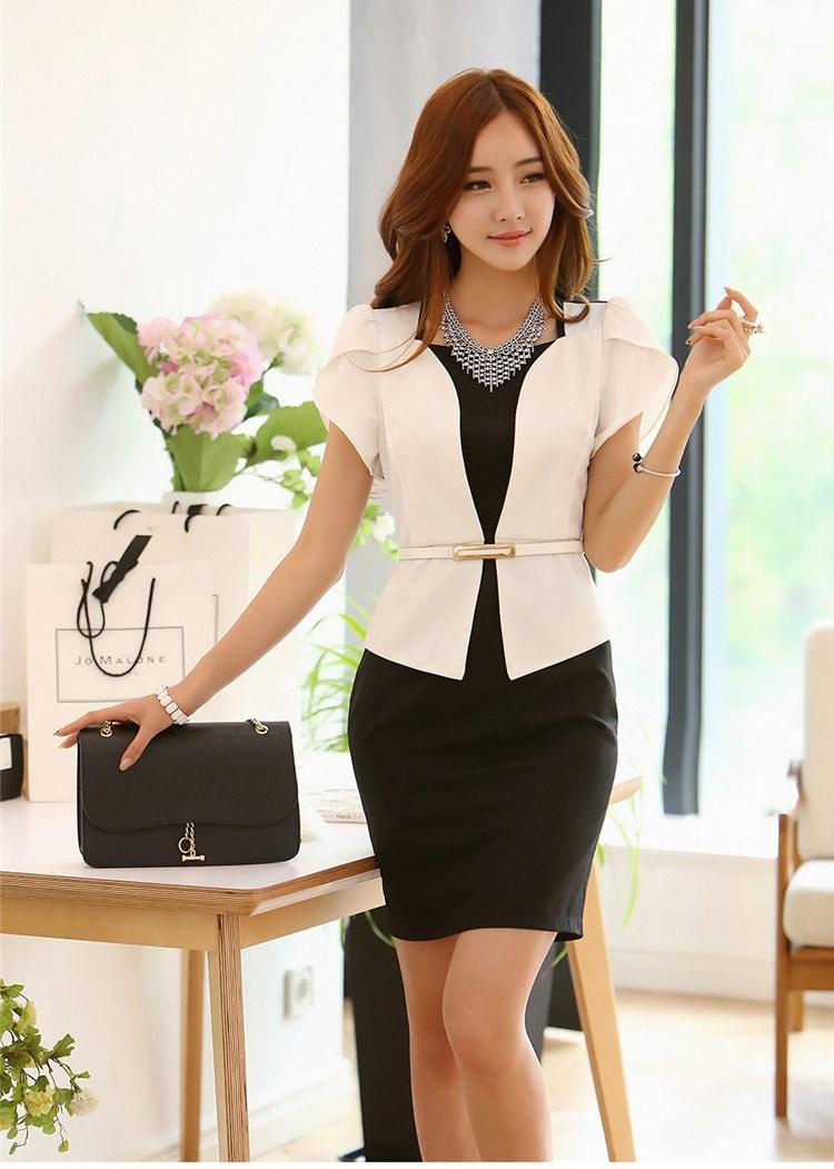 ชุดเดรสทำงาน ชุดเดรสชีฟอง ชนิดหนา สีดำ ตัวเสื้อด้านหน้าสีขาว ดีไซน์เหมือนใส่เสื้อคลุม พร้อมเข็มขัดสีขาว