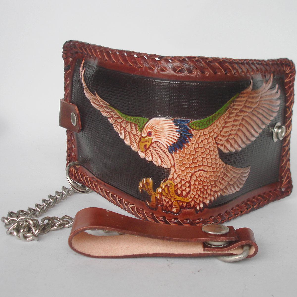 กระเป๋าสตางค์ลวดลายนกอินทรีย์กางปีก 2 พับ พร้อมโซ่ Line id : 0853457150