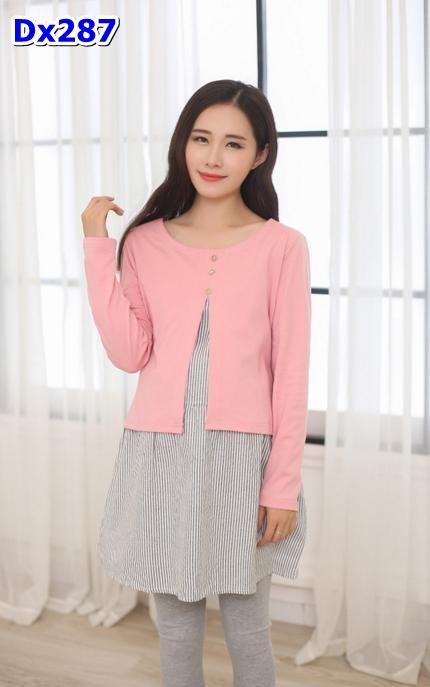 #เสื้อคลุมท้องแฟชั่น แขนยาว เสื้อติดกัน สีชมพู แขนยาวน่ารัก ผ้าเนื้อดีค่ะ พร้อมเชือกผูกด้านหลัง
