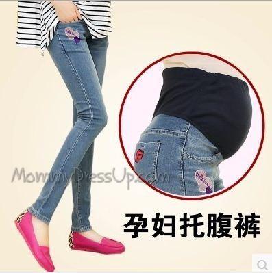 กางเกงคนท้องยีนส์ยืดขายาว ปักลายหัวใจที่กระเป๋าด้านหน้า ด้านหลังปักลายปากแดง ปรับเอวได้ size L, XL, XXL
