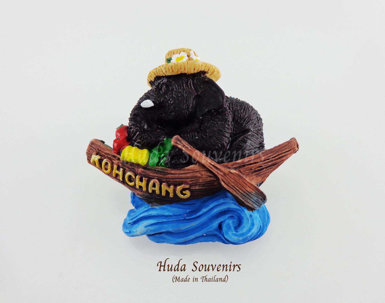 ของที่ระลึกไทย แม่เหล็กติดตู้เย็น ลวดลายช้างพายเรือ วัสดุเรซิ่น ชิ้นงานปั้มลายเนื้อนูน ลงสีสวยงาม