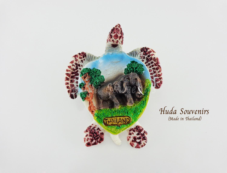 ของที่ระลึกไทย แม่เหล็กติดตู้เย็น ลวดลายช้างรูปทรงตะพาบน้ำ วัสดุเรซิ่น ชิ้นงานปั้มลายเนื้อนูน ลงสีสวยงาม