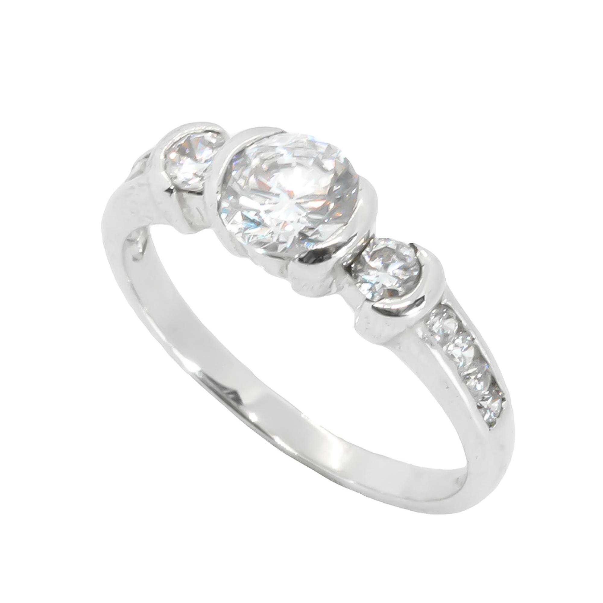 แหวนเพชรCZ หุ้มทองคำขาวแท้ ไซส์ 58