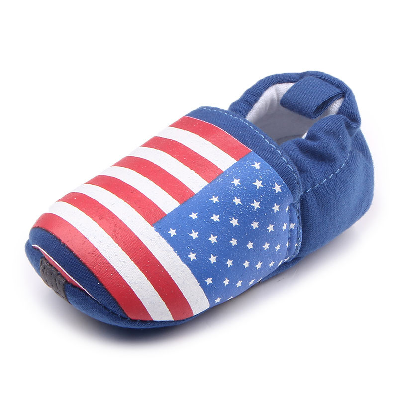 รองเท้าเด็กอ่อน 0-12เดือน รองเท้าเด็กชาย เด็กหญิง สีน้ำเงินลายธงชาติสหรัฐ
