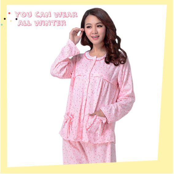 ชุดนอนคนท้อง - เปิดให้นมได้ สีชมพูลายโบว์+กางเกง เอวปรับได้ งานดี ผ้านุ่มใส่สบาย น่ารักมากๆค่ะ