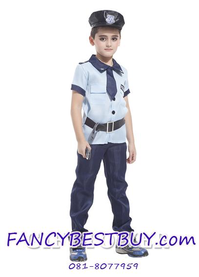 ชุดตำรวจแขนสั้น สีฟ้า สำหรับแฟนซีชุดอาชีพต่างๆ มีขนาด L, XL